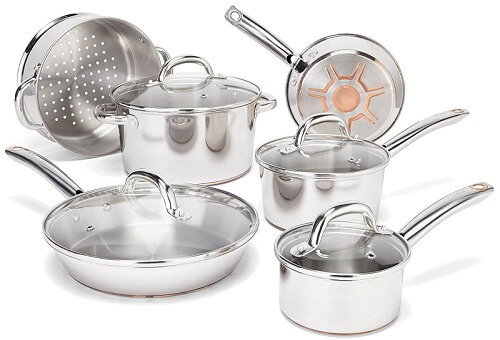 t fal ultimate stainless steel 10 piece cookware set review best cookwares 2018. Black Bedroom Furniture Sets. Home Design Ideas