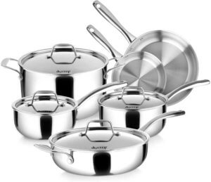 Duxtop Whole Clad Tri Ply Stainless Steel Induction Cookware 10 Pc Set