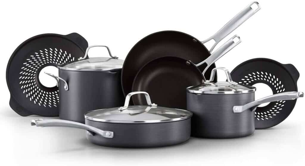 Calphalon Classic Pots and Pans Set 10 Piece. Cookware Set with No Boil-Over Inserts, Nonstick