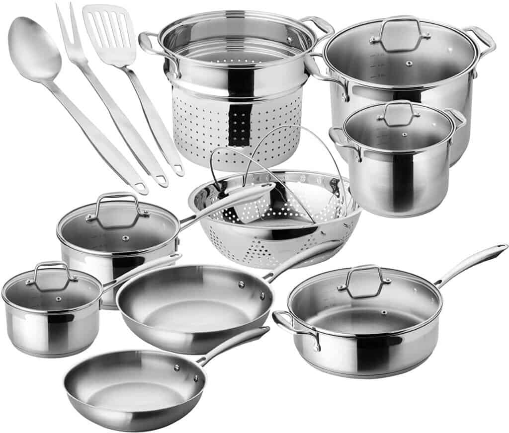 Chef's Star Professional Grade Stainless Steel Cookware, 17-Piece Set
