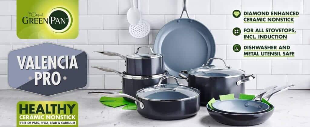 Greenpan valencia pro 11-piece ceramic nonstick cookware set
