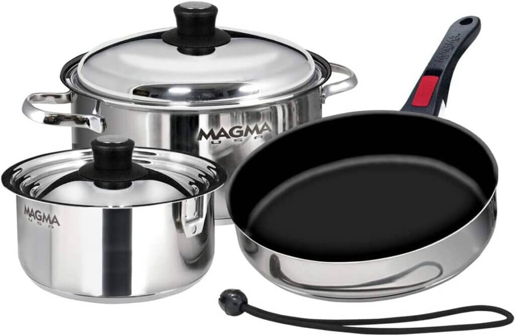 Magma Products, A10-363-2, Gourmet Nesting 7-Piece Stainless Steel Cookware Set