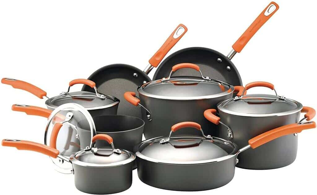 Rachael Ray 87000 Brights Hard Anodized Nonstick Cookware Pots and Pans Set