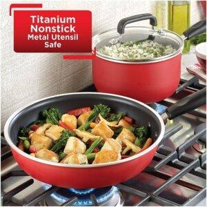 T-fal B062SC64 Signature Titanium Advanced Nonstick Pots and Pans Cookware Set