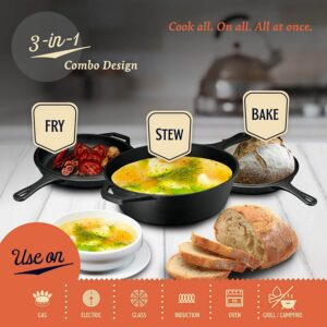 Legend Cast Iron Multi Cooker Skillet Set  3Q Dutch Oven for Bread, Frying, Cooking  Iron Pan With Lid Works on Induction, Electric, Gas & In Oven  Lightly Pre-Seasoned, Gets Better with Each Use