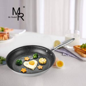 Mr Rudolf Nonstick Frying Pan,Tri-Ply Stainless Steel Skillet,PFOA-free Fry Pan,Induction Omlette Pan,Dishwasher Safe - 11 Inch
